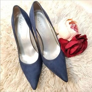 GUESS blue pointy toe heels